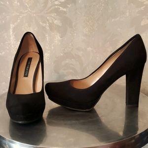 Luciano Barachini black suede high heel shoes 38